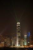 Scena di notte di skyscrpaer a Hong Kong Fotografia Stock