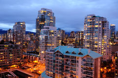 Scena di notte di Vancouver Fotografie Stock Libere da Diritti