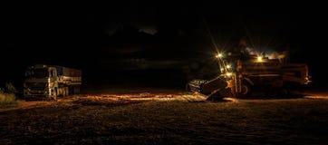 Scena di notte dopo la stagione del raccolto della soia Fotografia Stock