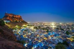 Scena di notte di Jodhpur nel Ragiastan, India fotografie stock libere da diritti
