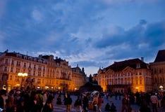 Scena di notte a Praga, repubblica Ceca Fotografie Stock