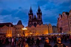 Scena di notte a Praga, repubblica Ceca Fotografia Stock