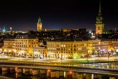 Scena di notte di Stoccolma, Svezia Immagine Stock Libera da Diritti