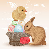 Scena di Pasqua con coniglio ed il pulcino Fotografie Stock Libere da Diritti