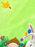 Scena di Pasqua con il ragazzo, il coniglio e l'uccello Fotografia Stock Libera da Diritti