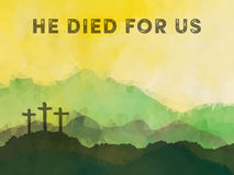 Scena di Pasqua con l'incrocio Progettazione di vettore di Jesus Christ Polygonal Immagini Stock Libere da Diritti