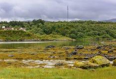 Scena di Serene Scandinavian Fjord Village Fotografie Stock Libere da Diritti