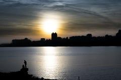 Scena di tramonto di paesaggio urbano, Montevideo, Uruguay Immagine Stock
