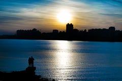 Scena di tramonto di paesaggio urbano, Montevideo, Uruguay Immagini Stock