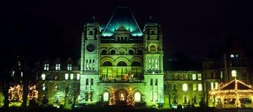 Scena di una costruzione a Toronto, Ontario di notte Fotografia Stock Libera da Diritti