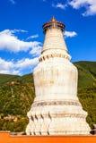 Scena di Wutaishan (supporto Wutai). Grande pagoda bianca Fotografia Stock
