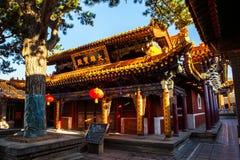 Scena di Wutaishan (supporto Wutai). Mahavira Hall (Corridoio di cerimonia) del tempio della cima di Buddha (Pusa Ding). Immagine Stock