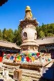 Scena di Wutaishan (supporto Wutai). Pagoda grave nel tempio di Longquan. Fotografia Stock Libera da Diritti
