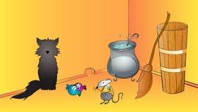 Scena divertente di Halloween con il gatto nero, il topo e le caramelle Drizzare di miscela della strega Fondo divertente di Hall Fotografia Stock Libera da Diritti