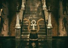 Scena dwa złotego węża i egipcjanin krzyżujemy Ank i geoglyphs na podłodze ilustracja wektor