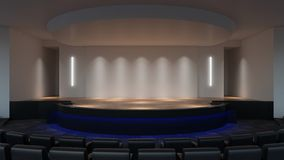 Scena egzamin próbny w górę 3d renderingu pusty ściana ekranu szablon ilustracja wektor