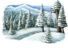 Scena felice di inverno del fumetto nelle montagne Immagini Stock
