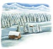 Scena felice di inverno del fumetto nelle montagne con le case di legno Fotografie Stock