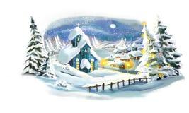Scena felice di inverno di Natale Immagini Stock Libere da Diritti