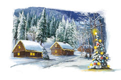 Scena felice di inverno di Natale Immagine Stock Libera da Diritti