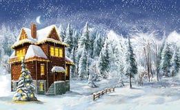 Scena felice di inverno di Natale Fotografie Stock