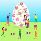 Scena felice di Pasqua con la gente minuscola illustrazione di stock