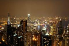 Scena FO Hong Kong di notte Fotografia Stock Libera da Diritti