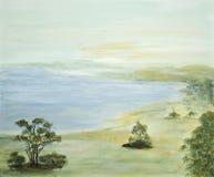Scena idillica con il lago Immagine Stock