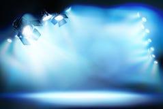 Scena iluminująca światłami reflektorów również zwrócić corel ilustracji wektora ilustracja wektor