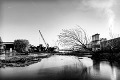 Scena industriale nel porto di Amsterdam fotografia stock