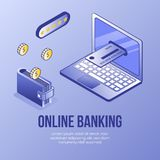 Scena isometrica di concetto di progetto di Digital delle icone contare mobili finanziarie del app 3d Simbolo-banca isometrica di fotografia stock libera da diritti
