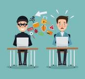 Scena koloru złodzieja hacker i programisty mężczyzna w biurku z laptopami zapobiega ataka Fotografia Royalty Free