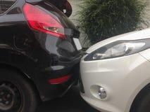 Scena kraksa samochodowa, wypadek samochodowy Obraz Stock