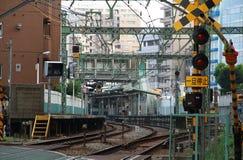 Scena linii kolejowej skrzyżowanie w Japonia Fotografia Stock