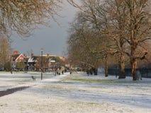 Scena Londra del parco della neve di inverno fotografia stock