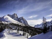 Scena magica di inverno, dolomia, Italia immagini stock libere da diritti