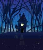 Scena magica di notte con una casa nel legno. Fotografie Stock Libere da Diritti