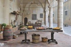 Scena medioevale del mercato fotografie stock