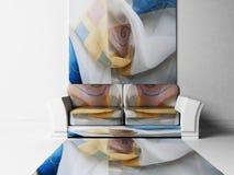 Scena moderna di disegno interno con un sofà Fotografia Stock