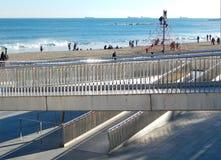 Scena na plaży w Barcelona, Hiszpania Zdjęcia Royalty Free