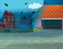 Scena nella città - fondo del fumetto Immagini Stock