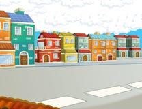 Scena nella città - fondo del fumetto Immagini Stock Libere da Diritti