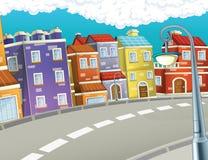 Scena nella città - fondo del fumetto Fotografia Stock Libera da Diritti