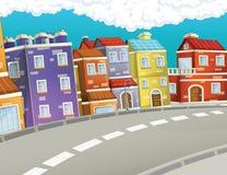 Scena nella città - fondo del fumetto Immagine Stock
