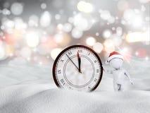 scena nevosa del buon anno 3D con la figura e l'orologio illustrazione vettoriale