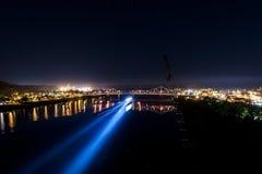 Scena notte/di penombra - ponte diIronton-Russell - il fiume Ohio - l'Ohio & il Kentucky Fotografie Stock Libere da Diritti