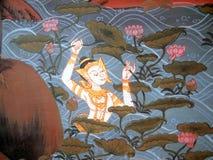 Scena od Ramakien w Wacie Phra Kaew, Bangkok, Tajlandia Fotografia Royalty Free