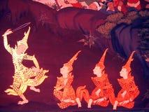 Scena od Ramakien w Wacie Phra Kaew, Bangkok, Tajlandia Obraz Royalty Free