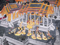 Scena od Ramakien w Wacie Phra Kaew, Bangkok, Tajlandia Obrazy Royalty Free