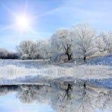 Scena piacevole del lago di inverno Immagini Stock Libere da Diritti